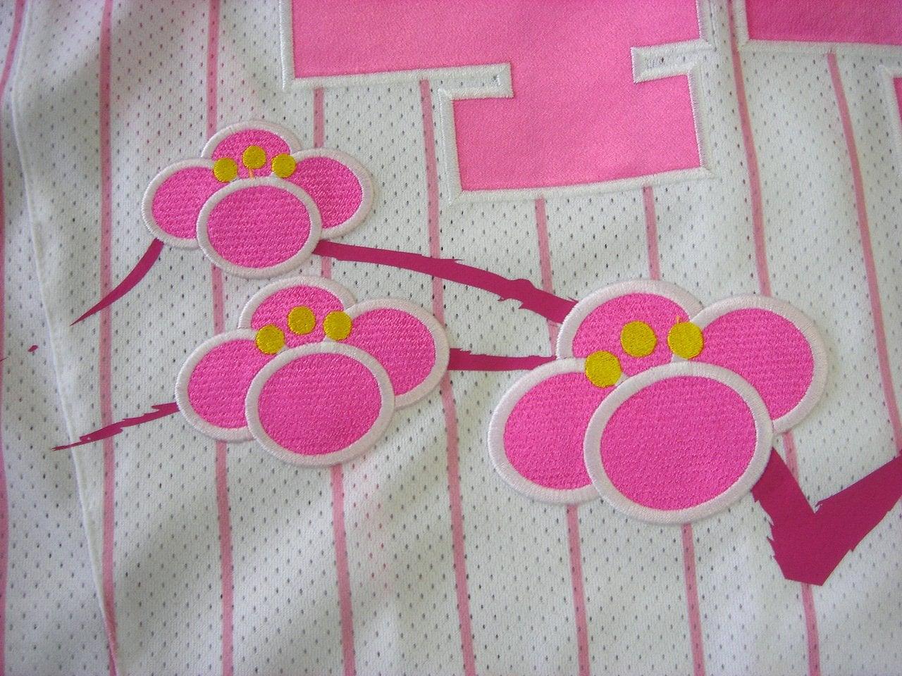 応援ユニフォーム刺繍:転写プリントとアップリケ刺繍の組み合わせ例。